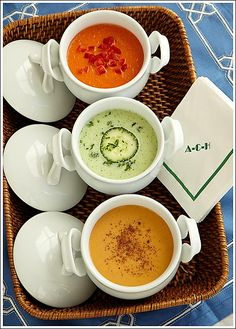 A trio of Alex Hitz cold soups – Roasted Red Pepper, Cucumber, Sweet Potato Vichyssoise