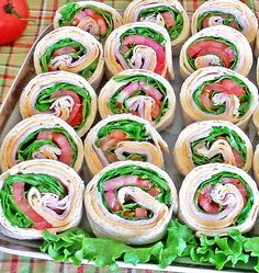 This Turkey Pinwheels Appetizers recipe is great, healthy with vitamins, protein, fiber and low in fat. Plus, it's a chance to get some veggies in, such as green leaf lettuce and tomato.