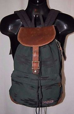 JanSport Green Leather Bottom Flap Indian Southwest Print Backpack Drawstring