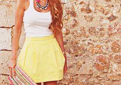 necklace, skirt, clutch