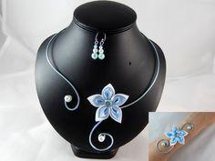 """""""Vic"""" - Parure 3 pièces fleur blanche et bleu clair - personnalisable : Parure par lunipassion"""