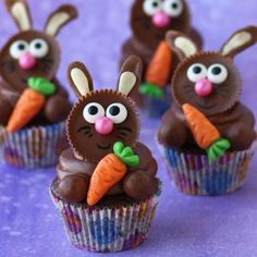 It's so easy to transform a Reese's Cup into an Easter bunny to decorate chocolate cupcakes.