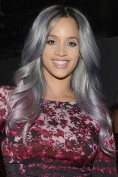 Dascha Polanco's Grey Hair Color with Lavender Ombre - Hairstyle Stars