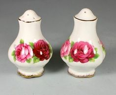 ROYAL ALBERT OLD ENGLISH ROSE SALT & PEPPER SET | Trade Me