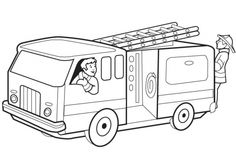 Coloring page firetruck