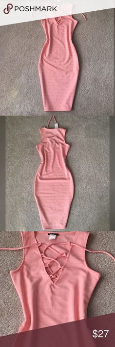 Blush Midi Dress!!! Beautiful sexy and So fashionable dress! New with tag , Pencil style! You will LOVE it!!!! Come a size smaller, if you wear M size buy the L size better Dresses Midi