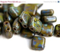 ON SALE Olive green Picasso 2 hole Czech glass Beads by MayaHoney, $1.92