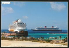 Disney Dream and the Disney Fantasy at Castaway Cay...I was there once...wanna go back...like now.