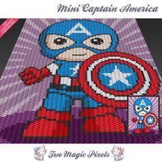 Mini Captain America inspired c2c graph crochet pattern; instant PDF download; baby blanket, corner to corner, afghan, graphghan by TwoMagicPixels on Etsy https://www.etsy.com/listing/387184250/mini-captain-america-inspired-c2c-graph