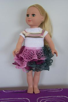 """Best American Girl Doll Dress Handmade for sale - Very nice Birthday gift  A beautiful dress for American Girl or other 18 """"doll Dress with short sleeves, back with buttons close. Skirt from ruffle jarn. Pick up in Schoenwiese."""