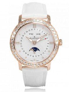 Blancpain Women's Luxury Watch - Complete Calendar Moon Phase - 3663-2954-55B