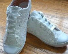 lace converse | White lace converse style wedding s hoes size 6 ...