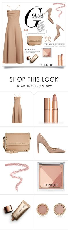 """""""Nude Lip"""" by barbarapoole ❤ liked on Polyvore featuring beauty, Valentino, Charlotte Tilbury, Bobbi Brown Cosmetics, Clinique, Nude by Nature, Michael Kors and APM Monaco"""