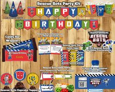Rescue Bots Birthday Party Kit Download Banner by instbirthday