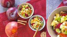Pikanter Süßkartoffel-Bulgur-Salat mit Pflaumen Cobb Salad, Eggs, Breakfast, Food, Bulgur, Food Food, Recipies, Morning Coffee, Essen