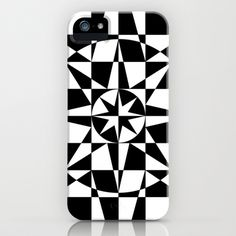 Black & White Star iPhone Case by V. Kharuzhy - $35.00