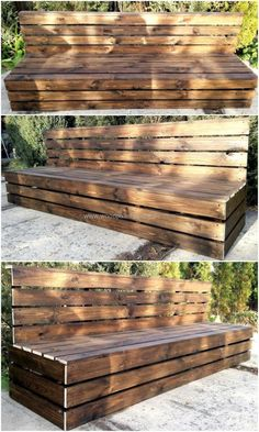 50 Cool Ideas for Wood Pallets Upcycling - Garden Diy Outdoor Furniture Plans, Wood Pallet Furniture, Rustic Furniture, Garden Furniture, Diy Furniture, Pallet Bench, Distressed Furniture, Furniture Storage, Industrial Furniture
