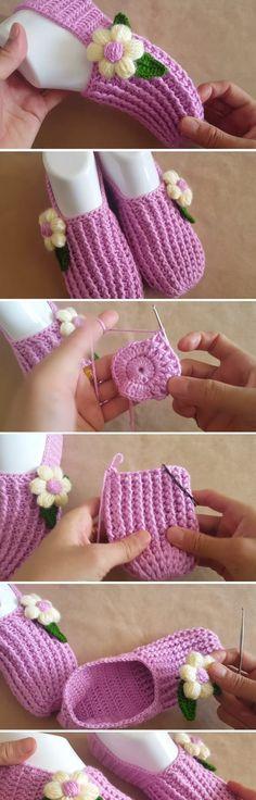 Crochet Tutorial – Beautiful Slippers with a Flower - Design Peak
