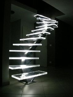 Acrylic Stairs with LED Lighting Dangerous but cool looking.