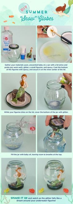 Make your own snow globe with a little glass jar! I love the idea!