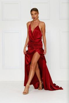 This gown is strictly on preorder. If no preorder is placed we will not guarantee sizes. Late April Delivery.The ultimate luxe gown. Made from premium satin do