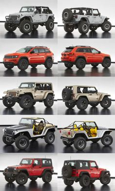 Jeep® New Concept Vehicles:  Jeep Wrangler Mopar Recon;  Jeep Grand Cherokee Trailhawk;  Jeep Wrangler Flattop;  Jeep Wrangler Stitch;  Jeep Wrangler Slim