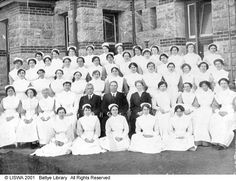 Nurses and staff at the Claremont Hospital for the Insane [picture], WA. 1917. Collection: Department of Health, Western Australia