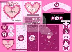 Baby Shower Zoe / Temática: Corazones y mariposas -  Diseño de Invitación, tarjeta para souvenir, guirnalda, wrappers, etiquetas para botellas, cartelería mesa dulce, etiquetas para botellas, envoltorios para golosinas, cículos multiuso y mini-banderines.