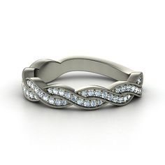 14K White Gold Ring with Aquamarine | Ariadne Band | Gemvara
