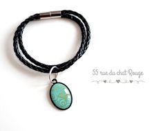 Bracelet double cordon tressé noir cabochon 18x25 mm arabesques dorure bleu pastel : Bracelet par arbremagic