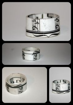 Pressed paper music ring