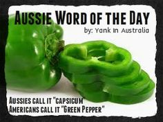 "Word of the Day: Aussies call it ""capsicum"" Americans call it ""green pepper"" Join my FB page ""Yank in Australia"" www. Australia Vs America, Australia Funny, Moving To Australia, Australia Living, Aussie Australia, Australian Memes, Aussie Memes, Australian Gifts, Australian Animals"