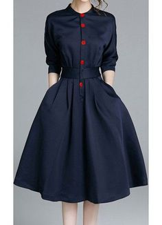 Womens navy and red mid length 3/4 sleeve fit and flare dress by Apostolic Co.
