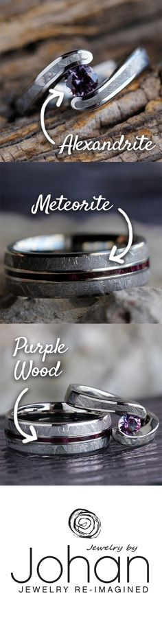 Our stunning new wedding ring set boasts genuine meteorite, purple box elder burl wood, and a flawless, tension set Alexandrite at the center of the engagement ring.