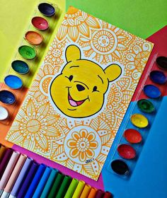 Holis, remember this picture? 💖😄 Which character is your favorite? The Pooh, Piglet and Tigger mine. Doodle Art Drawing, Mandala Drawing, Cool Art Drawings, Art Drawings Sketches, Pencil Art Drawings, Flower Drawings, Mandala Doodle, Mandala Art Lesson, Mandala Artwork