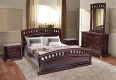 King Size Wood Bed Frame, Bedroom Furnishings, Bed Furniture Design, Wood Furniture Plans, Wooden Bedroom Furniture, 4 Bedroom House Designs, Wooden Bed Design, Living Room Decor Modern, Diy Home Furniture