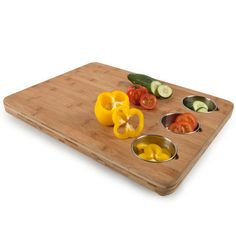 awesome chopping block with removable prep bowls.