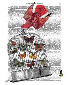 Hey, I found this really awesome Etsy listing at https://www.etsy.com/listing/178418179/flying-birdcage-birdcage-print-butterfly