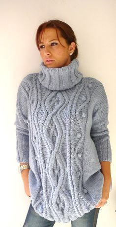 Blue Gray Plus Size Hand Knitted Dress Sweater with by BIANO