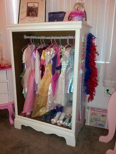 old dresser into dress up closet.