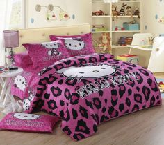 New 2014 Unique Hello Kitty Bedding Set 4pc Queen King Size Cotton Purple RARE |
