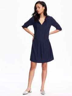 Pleated Tie-Neck Swing Dress for Women | Old Navy