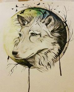 "The Wolf   First part of the series ""Into the woods"" from Sukis Brain Art.   Facebook: Suki's Brain Art Instagram: sukisbrainart_   #wolf #aquarell #moon #dark #tattoo #tattoodesign"