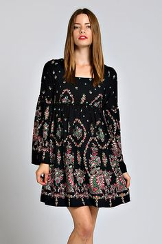 BOHO FLORAL BABYDOLL DRESS