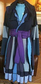 This is a recycled t-shirt pixie coat. Cute! It's the southern version of the repurposed sweater coat.