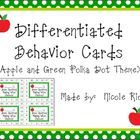 "As we all know, ""One size doesn't fit all."" These cute apple and green polka dot behavior cards can be used to motivate a wide range of students.  ..."