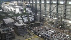 Keel and construction blocks of Ovation of the Seas in drydock and Norwegian Escape construction image from Meyer Werft Shipyard April 13, 2015
