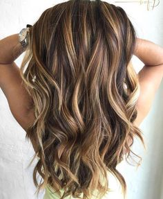 Caramel Highlights on Brown and Dark Brown Hair