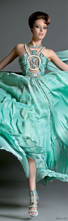 The Versatile Talents of Artisan Blanka Matragi Features her Anniversary Haute Couture Collection and some of her other Outstanding Creative Products Shades Of Turquoise, Bleu Turquoise, Teal, Turquoise Dress, Beautiful Gowns, Beautiful Outfits, Evening Dresses, Prom Dresses, Long Dresses