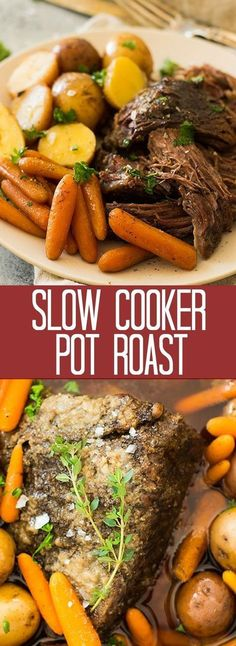 Crazy tender, melt in your mouth slow cooker pot roast with carrots and potatoes. This super easy meal requires little prep and the crockpot does all the work! | www.countrysidecravings.com Slow Cooker Roast Beef, Pot Roast In The Crockpot, Beef Roast In Crockpot, Roast Crockpot Recipes, Slow Cooker Recipes, Cooking Recipes, Easy Recipes, Crock Pot Cooking, Easy Crock Pot Meals